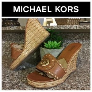 Michael Kors Leather and Bamboo Wedge Sandals